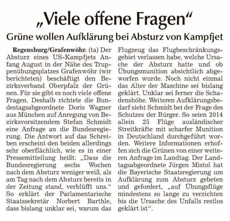 151005 Absurz Kampfjet Bayern Kleine Anfrage Doris Wagner_Berichterstattung Donau-Post 25.09.15