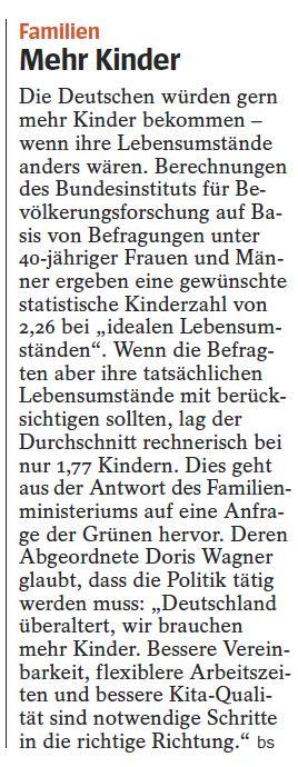 160314 Der Spiegel Doris Wagner Schriftliche Frage Kinderwunsch und Kinderzahl