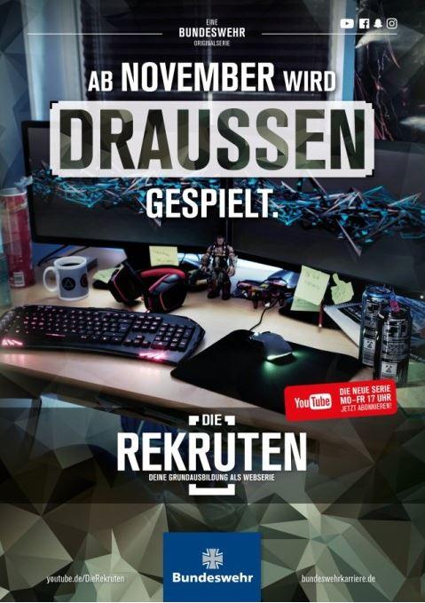 """Das Bild zeigt ein Plakat der Bundeswehr, mit der sie für die Webserie """"Die Rekruten"""" wirbt."""