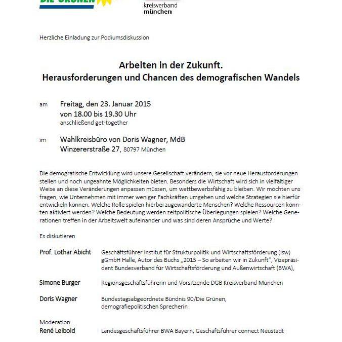 """6. Februar 2015 – """"Arbeiten in der Zukunft. Herausforderungen und Chancen des demografischen Wandels"""" – Diskussion im Wahlkreisbüro"""