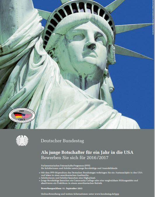 2. Juni 2015 – Bundestagsstipendium für ein USA-Austauschjahr